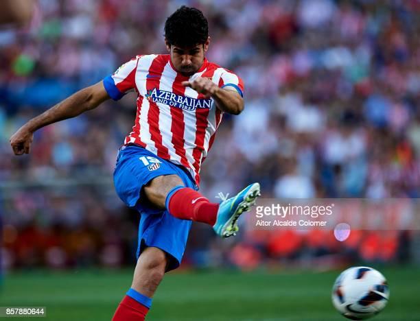 Diego Costa of Atletico de Madrid in action during the La Liga between Atletico de Madrid vs FC Barcelona at Estadio Vicente Calderon on May 12 2013...