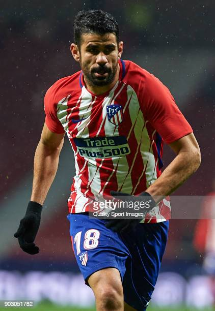 Diego Costa of Atletico de Madrid looks on during the Copa del Rey Round of 16 second Leg match between Atletico de Madrid and Lleida on January 9...