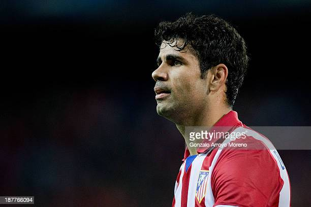 Diego Costa of Atletico de Madrid looks on during the La Liga match between Club Atletico de Madrid and Real Betis Balompieat at Vicente Calderon...