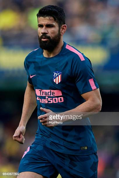 Diego Costa of Atletico de Madrid looks on during the La Liga match between Villarreal CF and Atletico de Madrid at Estadio de la Ceramica on March...