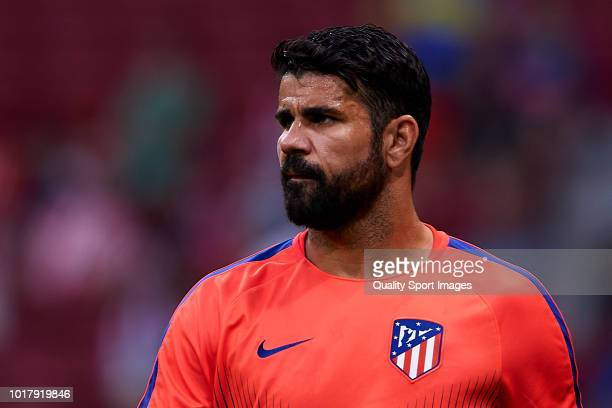 Diego Costa of Atletico de Madrid looks on prior to the International Champions Cup match between Atletico de Madrid and FC Internazionale at Wanda...