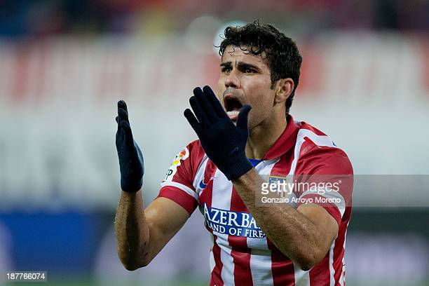 Diego Costa of Atletico de Madrid protests to the referee after a fault during the La Liga match between Club Atletico de Madrid and Real Betis...