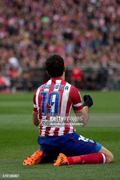Diego Costa of Atletico de Madrid protests to the referee after being tackled during the La Liga match between Club Atletico de Madrid and Real...