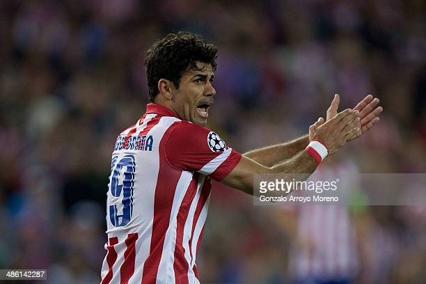 Diego Costa of Atletico de Madrid protests to the referee during the UEFA Champions League Semi Final first leg match between Club Atletico de Madrid...