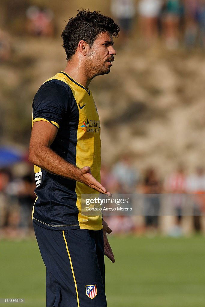 Diego Costa of Atletico de Madrid reacts during the Jesus Gil y Gil Trophy between Club Atletico de Madrid and Numancia C. D. at Sporting Club Uxama on July 21, 2013 in Burgo de Osma, Soria, Spain.