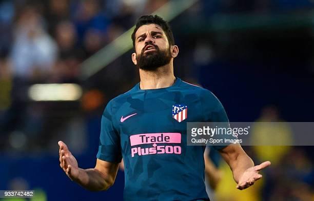 Diego Costa of Atletico de Madrid reacts during the La Liga match between Villarreal and Atletico Madrid at Estadio de La Ceramica on March 18 2018...