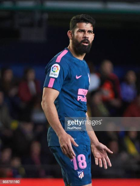 Diego Costa of Atletico de Madrid reacts during the La Liga match between Villarreal and Atletico de Madrid at Estadio de la Ceramica on march 18 2018