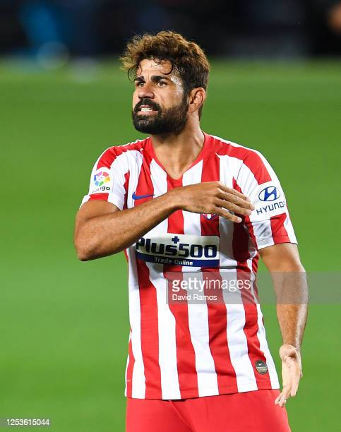 Diego Costa of Atletico de Madrid reacts during the Liga match between FC Barcelona and Club Atletico de Madrid at Camp Nou on June 30, 2020 in...