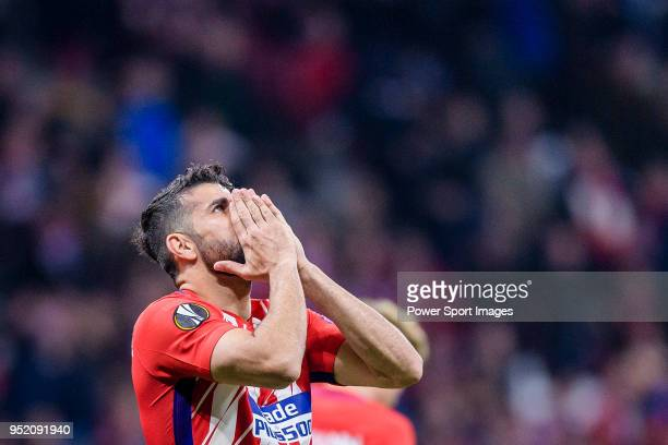 Diego Costa of Atletico de Madrid reacts during the UEFA Europa League quarter final leg one match between Atletico Madrid and Sporting CP at Wanda...