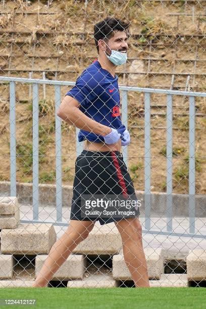 Diego Costa of Atletico de Madrid smiles during a training session at Estadio Cerro del Espino on May 12 2020 in Madrid Spain