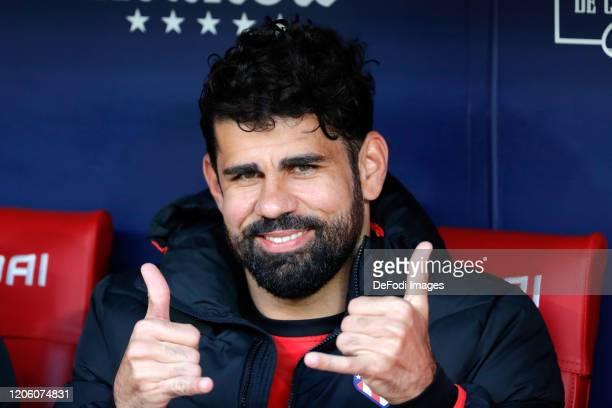 Diego Costa of Atletico de Madrid smiles prior to the Liga match between Club Atletico de Madrid and Sevilla FC at Wanda Metropolitano on March 7...