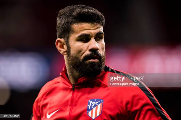Diego Costa of Atletico de Madrid warms up prior to the La Liga 201718 match between Atletico de Madrid and CD Leganes at Wanda Metropolitano on...