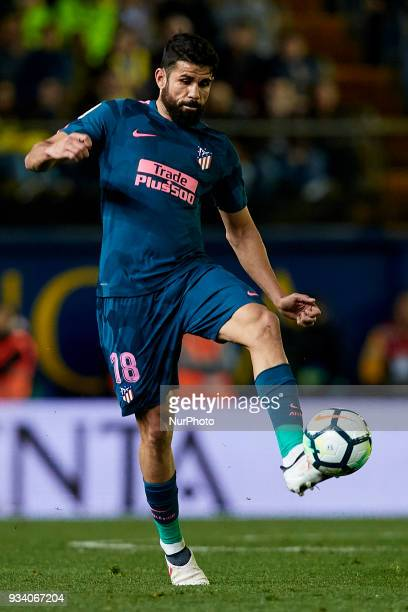 Diego Costa of Atletico de Madrid with the ball during the La Liga match between Villarreal CF and Atletico de Madrid at Estadio de la Ceramica on...