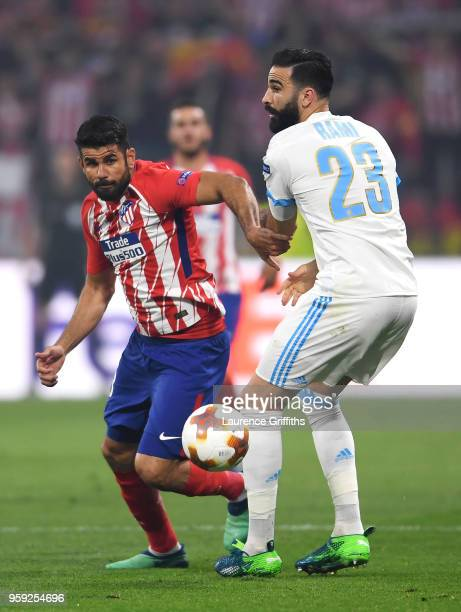 Diego Costa of Atletico Madrid and Adil Rami of Marseille battle for the ball during the UEFA Europa League Final between Olympique de Marseille and...