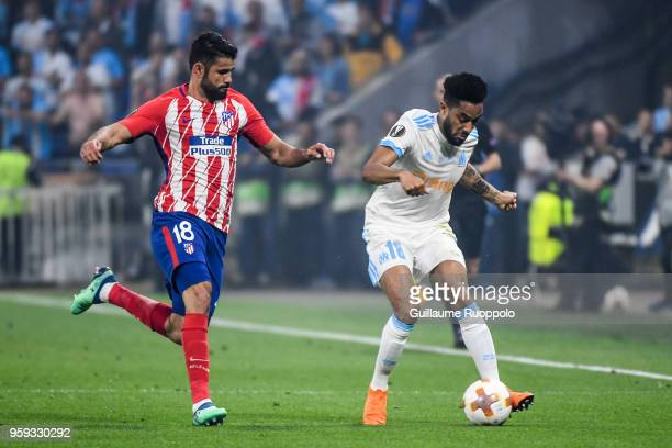 Diego Costa of Atletico Madrid and Jordan Amavi of Marseille during the Europa League Final match between Marseille and Atletico Madrid at Groupama...