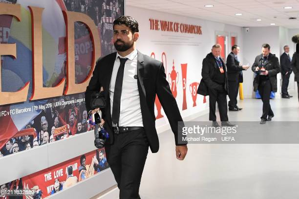 Diego Costa of Atletico Madrid arrives at the stadium prior to the UEFA Champions League round of 16 second leg match between Liverpool FC and...
