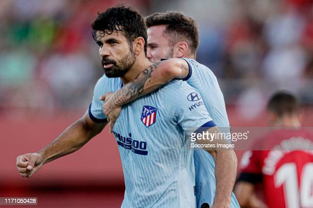 Diego Costa of Atletico Madrid celebrates 0-1 with Thomas Lemar of Atletico Madrid during the La Liga Santander match between Real Mallorca v...