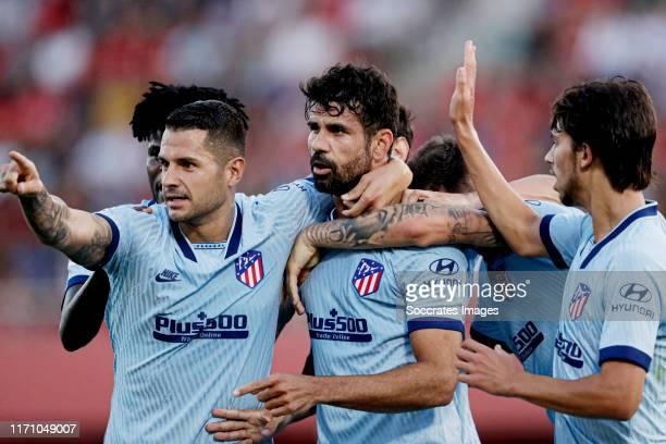 Diego Costa of Atletico Madrid celebrates 0-1 with Vitolo of Atletico Madrid, Joao Felix of Atletico Madrid during the La Liga Santander match...