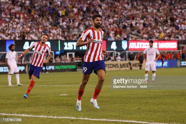 Diego Costa of Atletico Madrid celebrates after scoring a goal to make it 05 during the 2019 International Champions Cup match between Real Madrid...
