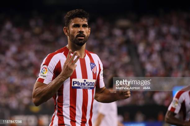 Diego Costa of Atletico Madrid celebrates after scoring a goal to make it 0-5 during the 2019 International Champions Cup match between Real Madrid...