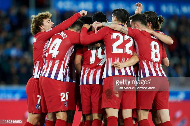 Diego Costa of Atletico Madrid celebrates after scoring his team's second goal during the La Liga match between Deportivo Alaves and Club Atletico de...