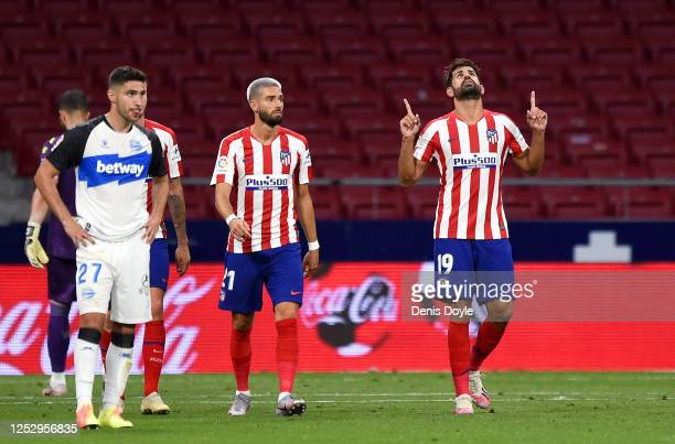 Diego Costa of Atletico Madrid celebrates after scoring his team's second goal during the La Liga match between Club Atletico de Madrid and Deportivo...