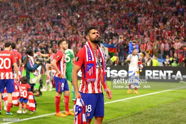 Diego Costa of Atletico Madrid celebrates at the end of the UEFA Europa League Final between Olympique de Marseille and Club Atletico de Madrid at...