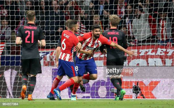 Diego Costa of Atletico Madrid celebrates his goal during the UEFA Europa League Semi Final second leg match between Atletico Madrid and Arsenal FC...