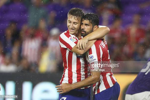 Diego Costa of Atletico Madrid celebrates with teammate Ivan Saponjic after scoring the third goal of their team during the 2019 MLS All-Star Game...