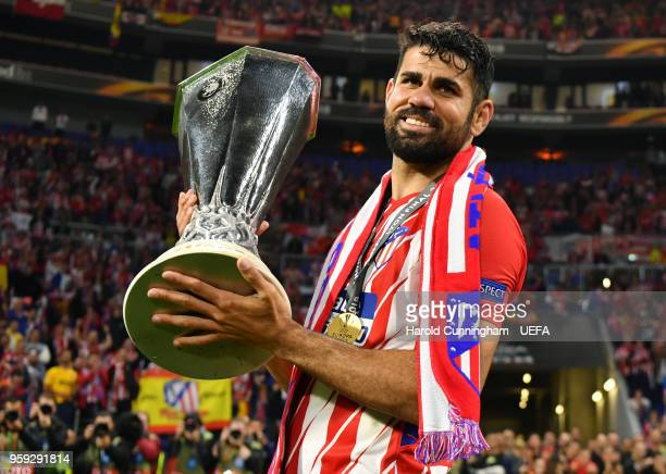 Diego Costa of Atletico Madrid celebrates with the trophy following the UEFA Europa League Final between Olympique de Marseille and Club Atletico de...