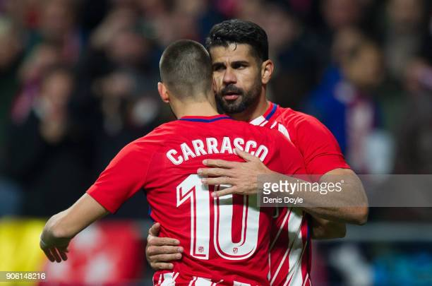 Diego Costa of Atletico Madrid celebrates with Yannick Carrasco after scoring his teamÕs opening goal during the Copa del Rey Quarter Final First Leg...