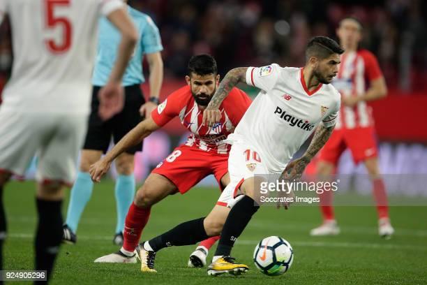 Diego Costa of Atletico Madrid Ever Banega of Sevilla FC during the La Liga Santander match between Sevilla v Atletico Madrid at the Estadio Ramon...
