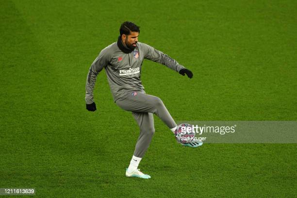 Diego Costa of Atletico Madrid in action during an Athletico Madrid Training Session at Anfield on March 10 2020 in Liverpool United Kingdom Atletico...