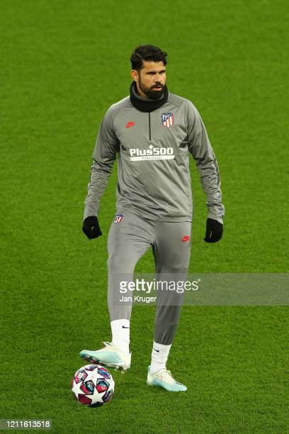 Diego Costa of Atletico Madrid looks on during an Athletico Madrid Training Session at Anfield on March 10 2020 in Liverpool United Kingdom Atletico...