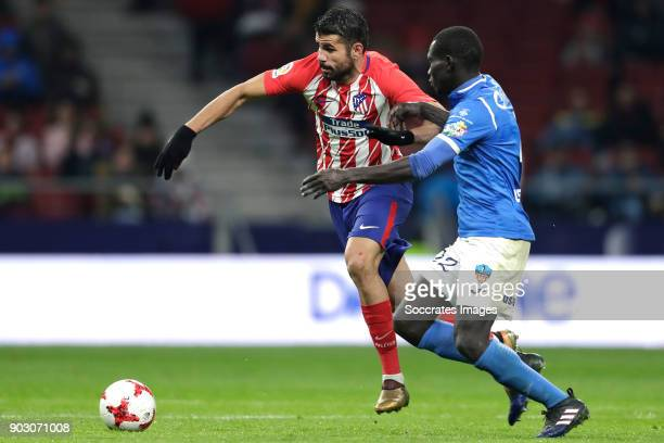 Diego Costa of Atletico Madrid Moustapha Gning of Lleida during the Spanish Copa del Rey match between Atletico Madrid v Lleida on January 9 2018