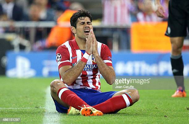 Diego Costa of Atletico Madrid reacts after missing a goal during the UEFA Champions League semi final match between Club Atletico de Madrid and...