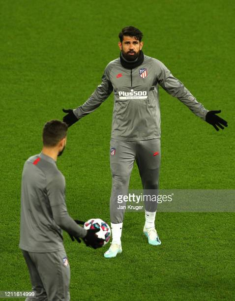 Diego Costa of Atletico Madrid reacts during an Athletico Madrid Training Session at Anfield on March 10 2020 in Liverpool United Kingdom Atletico...