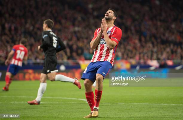 Diego Costa of Atletico Madrid reacts during the Copa del Rey Quarter Final First Leg match between Atletico de Madrid and Sevilla at Estadio Wanda...