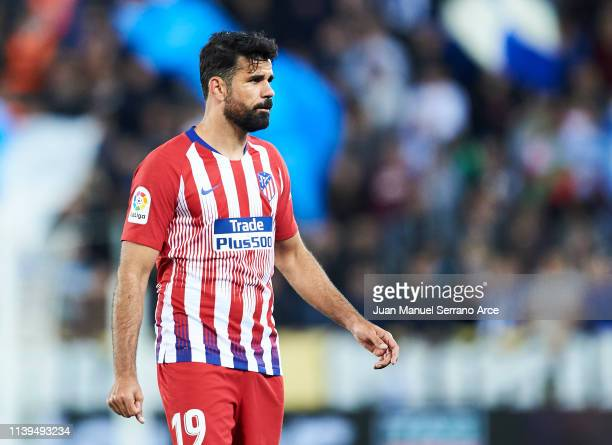 Diego Costa of Atletico Madrid reacts during the La Liga match between Deportivo Alaves and Club Atletico de Madrid at Estadio de Mendizorroza on...