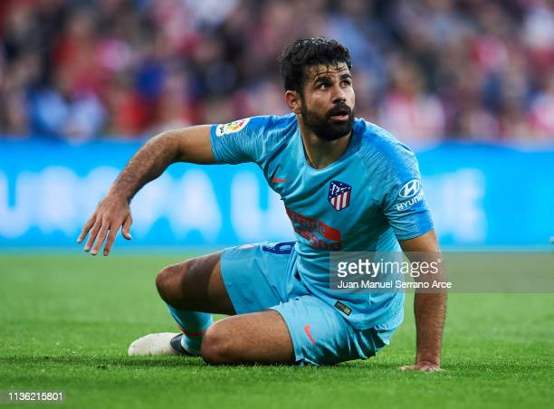 Diego Costa of Atletico Madrid reacts during the La Liga match between Athletic Club and Club Atletico de Madrid at San Mames Stadium on March 16...