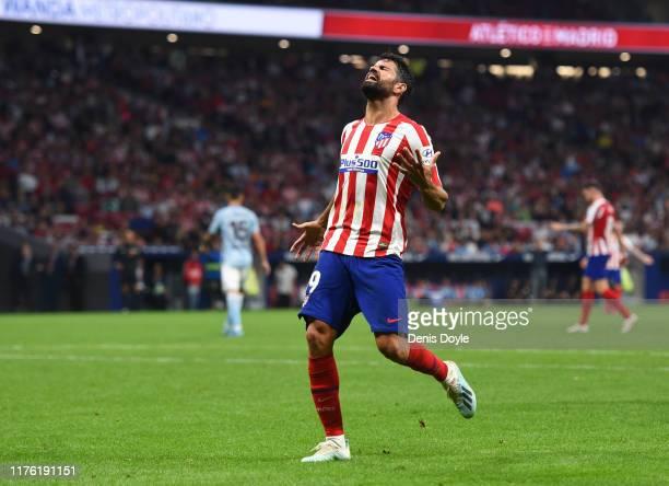 Diego Costa of Atletico Madrid reacts during the La Liga match between Club Atletico de Madrid and RC Celta de Vigo at Wanda Metropolitano on...
