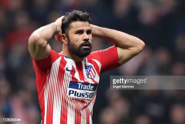 Diego Costa of Atletico Madrid reacts during the UEFA Champions League Round of 16 First Leg match between Club Atletico de Madrid and Juventus at...
