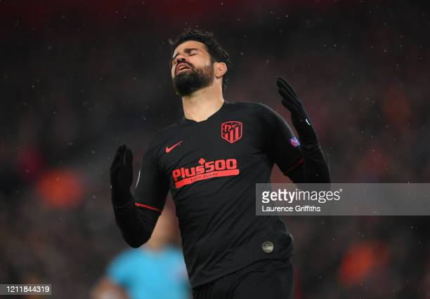 Diego Costa of Atletico Madrid reacts during the UEFA Champions League round of 16 second leg match between Liverpool FC and Atletico Madrid at...