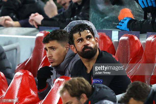 Diego Costa of Atletico Madrid reacts to be subbed during the UEFA Champions League round of 16 second leg match between Liverpool FC and Atletico...