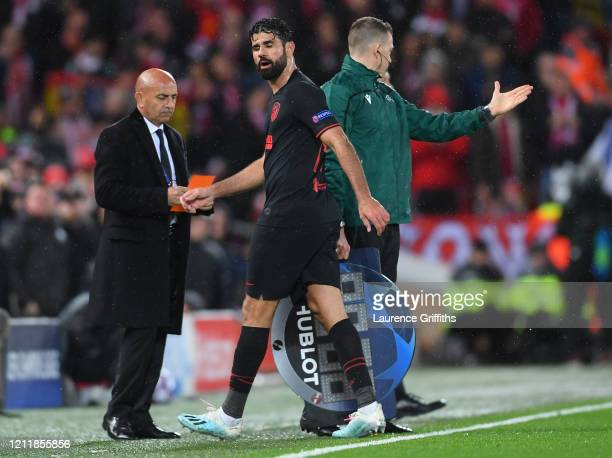 Diego Costa of Atletico Madrid reacts to being subbed during the UEFA Champions League round of 16 second leg match between Liverpool FC and Atletico...