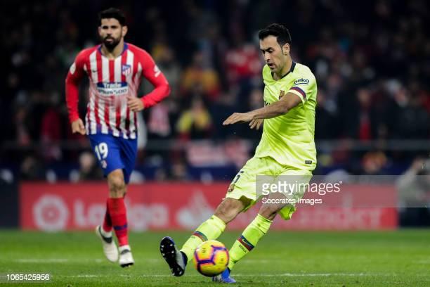 Diego Costa of Atletico Madrid Sergio Busquets of FC Barcelona during the La Liga Santander match between Atletico Madrid v FC Barcelona at the...