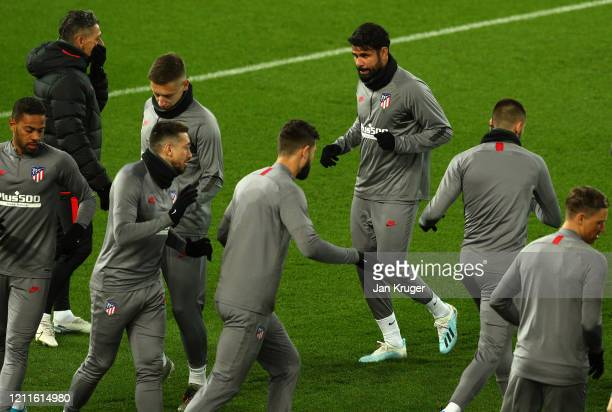 Diego Costa of Atletico Madrid trains with his team mates during an Athletico Madrid Training Session at Anfield on March 10 2020 in Liverpool United...