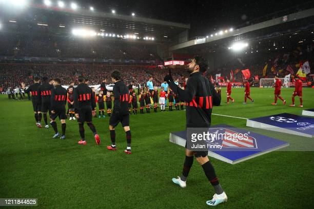 Diego Costa of Atletico Madrid walks out prior to the UEFA Champions League round of 16 second leg match between Liverpool FC and Atletico Madrid at...