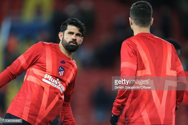 Diego Costa of Atletico warms up ahead of the UEFA Champions League round of 16 second leg match between Liverpool FC and Atletico Madrid at Anfield...