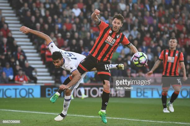 Diego Costa of Chelsea and Adam Smith of AFC Bournemouth battle to win a header during the Premier League match between AFC Bournemouth and Chelsea...